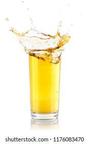 Apple juice splash splashing glass isolated on a white background