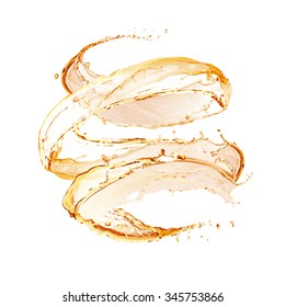Apple juice splashing isolated on white