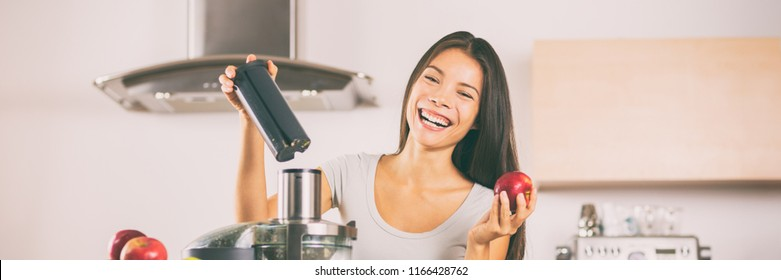 Apple juice - Woman making apples smoothie on juicer machine at home in kitchen. Juicing and healthy eating happy Asian woman cooking green vegetable and fruit juice. Banner panorama.