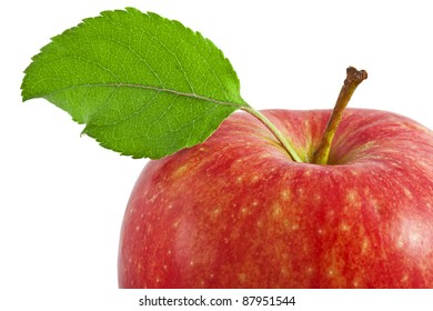 Apple with leaf isolated on white