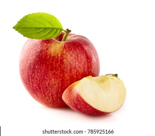 Apple with leaf on a white background