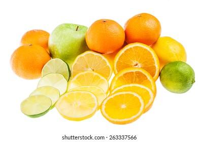 apple, lemon, lime and orange isolated on white background