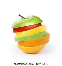Apple Lemon and orange isolated on white background