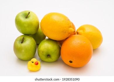 Apple, Lemon and Orange Nature Group Plant White Background