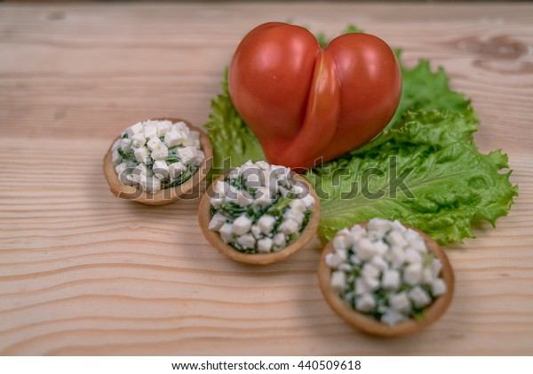 Apple of Love  with spinach toasts, garlic and feta Tomatoes heart