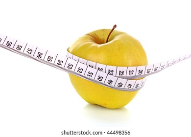 Apple and a measure tape, diet concept