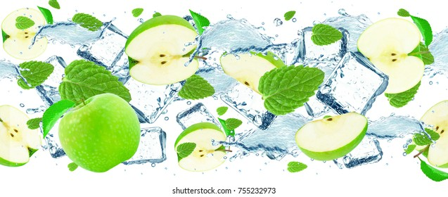 apple and mint water splash and ice isolated an white background