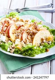 Apple and nut salad on plate