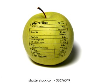 Apple with Nutrition Table on it