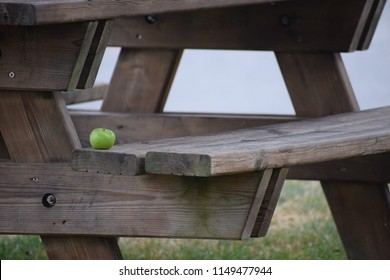 Apple on a bench