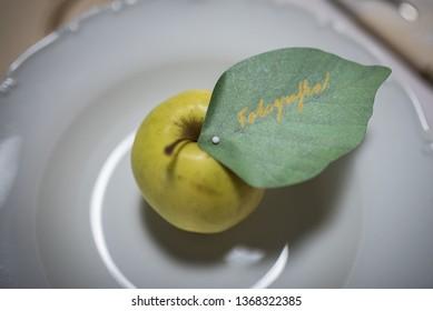Apple on the wedding table. Translation: The Photograper (she)