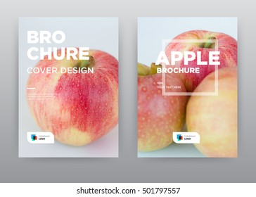 Apple on white background Fruit eating fresh annual report journal magazine banner poster brochure flyer design template, Leaflet cover presentation abstract flat, layout in A4 size