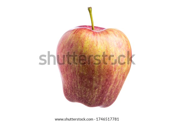Apple on a white background. Raw fruit. Isolated from background. Vegetarian food. Fruit in a slimming diet. Mature apple.