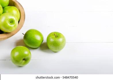 Apple on white table background,Green apple fruit background.