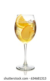 Apple and orange cocktail with a sparkling wine with ice in wine glass isolated on white