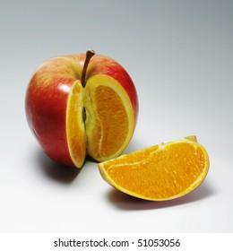 apple with orange content