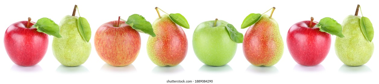 Apple pear fruits apples pears fresh fruit in a row isolated on a white background