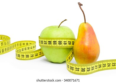 Apple and pear wrapped measuring tape on white background