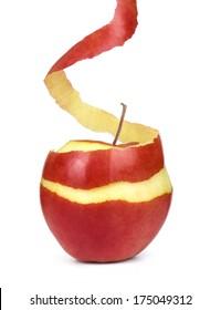 apple with peeled skin on white background