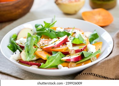 Apple with Persimmon, Rocket ,Pomegranate and Feta salad