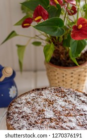 apple pie with candied walnuts and honeypot and flowers