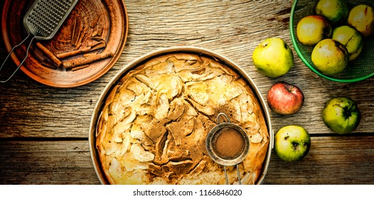 Apple pie with cinnamon. The concept: homemade baking