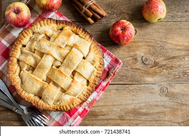 Apple Pie Dessert with Lattice. Homemade American Pie from Organic Autumn Apples.