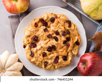 Apple pie with dried cranberries. Autumn baking with apples