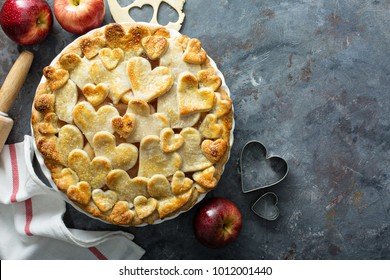 Apple pie with hearts shaped crust homemade treat for Valentines Day