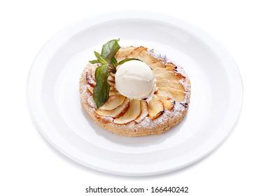 Apple pie  with ice cream and mint