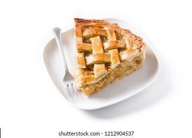Apple pie slice isolated on white background