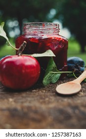Apple and plum jam in the jar