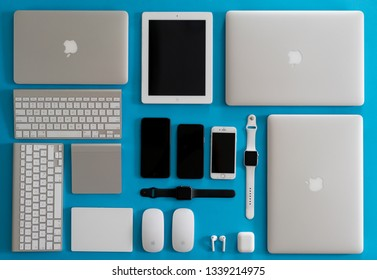 Apple products with blue background