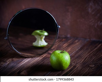 Apple reflecting in the mirror surrealistic picture abstract vision