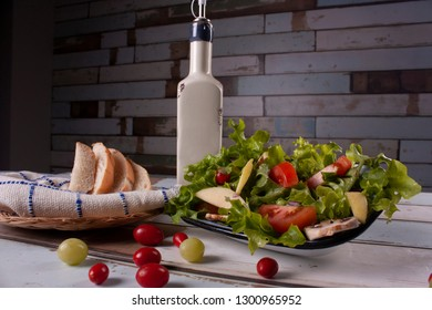 Apple salad with lettuce and cherry tomato healthy food in Mexico