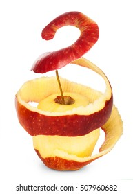 apple with the skin in a spiral on a white background
