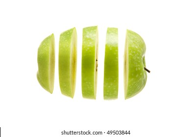 apple sliced and diced on a white background