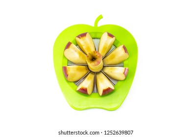 Apple slicer corer top view, isolated on white