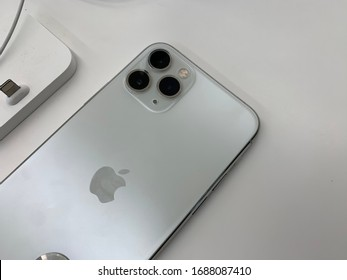 apple smart phones in apple store, the new iphone pro are the most popular in the whole world. United States, New York, Thursday, March 5, 2020