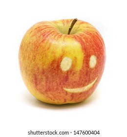 Apple with smiley face