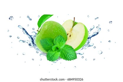 Apple splash water and mint isolated on white