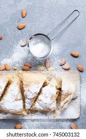 Apple strudel with almonds, vertical, selective focus
