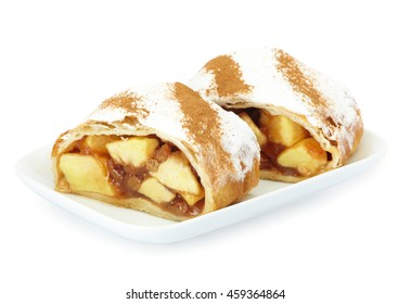 Apple strudel on white plate, white background.