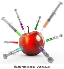 Apple with syringes