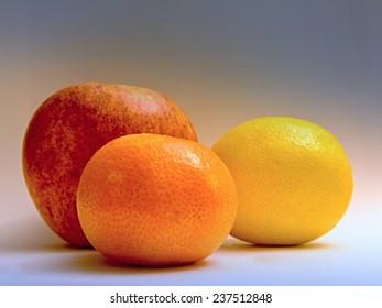 Apple, tangerine and lemon