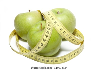 Apple with a tape measure on a white background