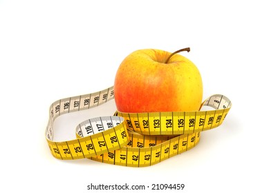 Apple and tape measure as symbol for healthy lifestyle