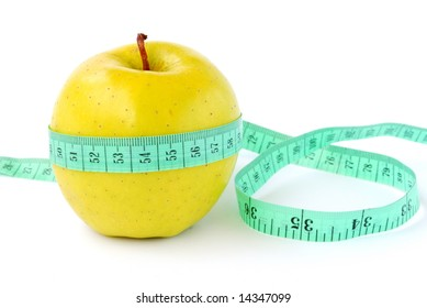 Apple with tape-line on white