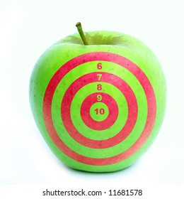 Apple with target on it.