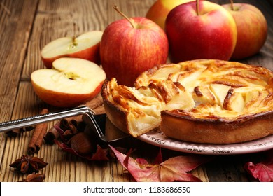 Apple tart. Gourmet traditional holiday apple pie sweet baked dessert food with cinnamon and apples on vintage background. Autumn decor. Rustic style